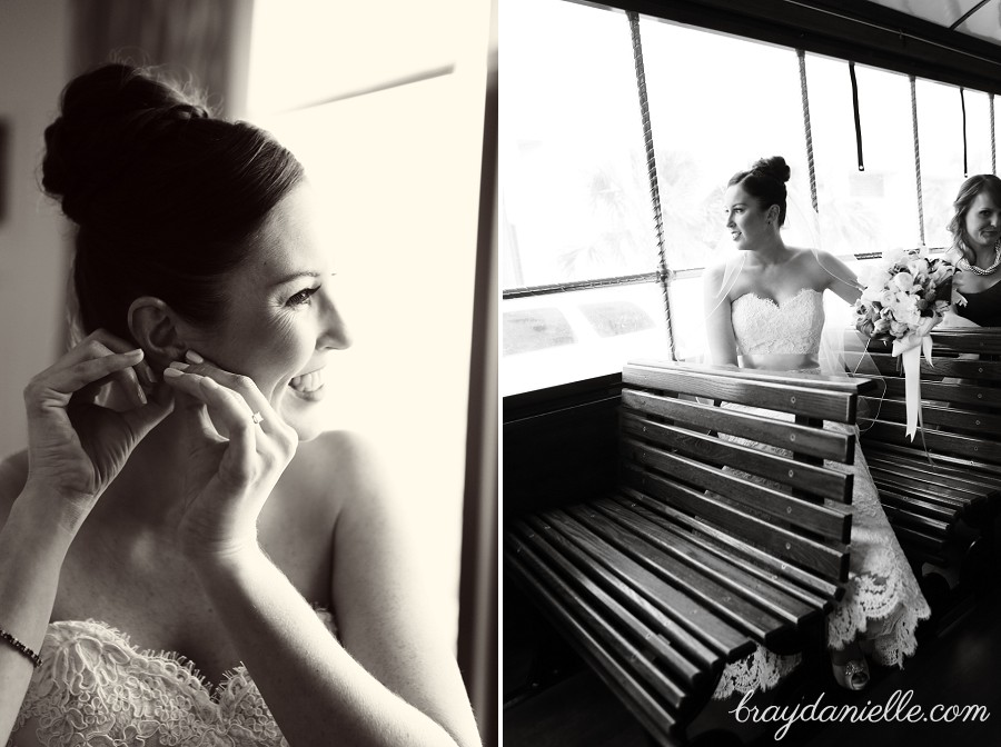 black and white bridal candid trolley