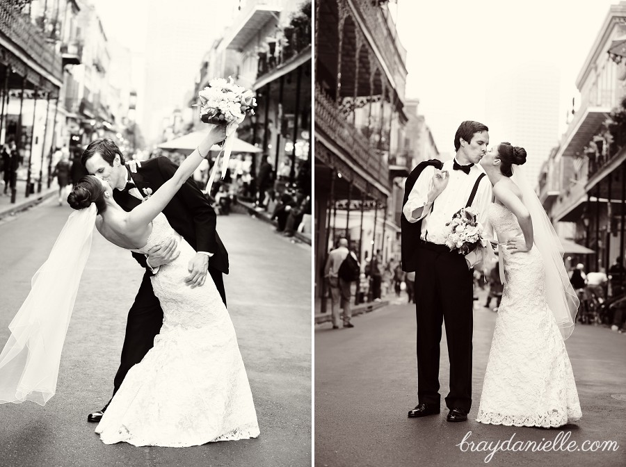 bride and groom in new orleans French Quarter