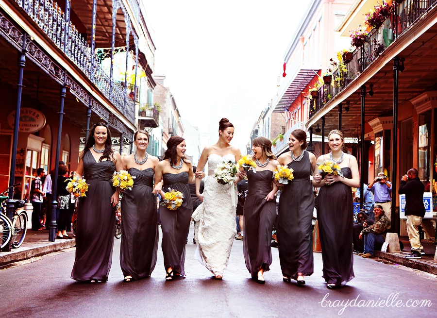 New orleans bridal party walking