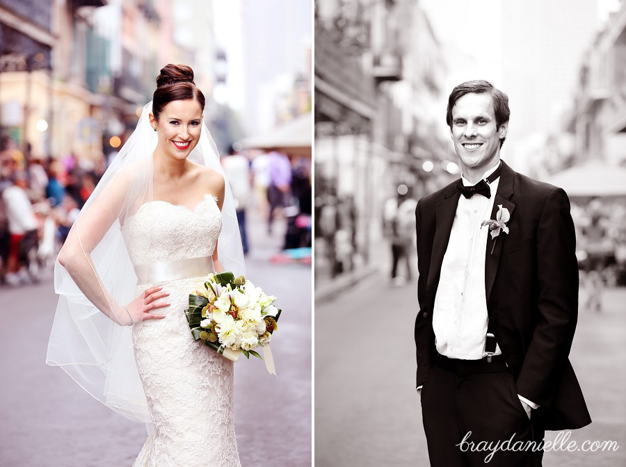 French Quarter bride and groom