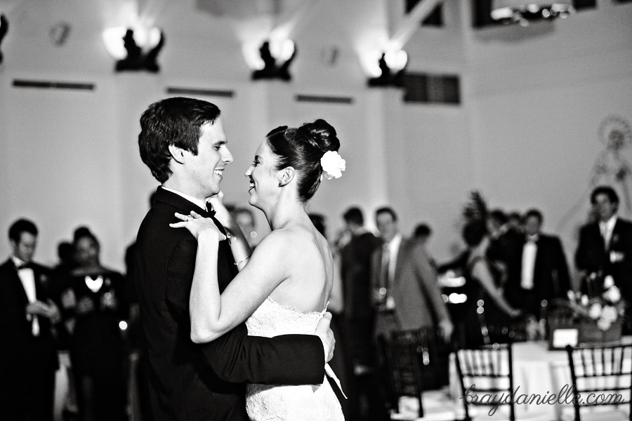 black and white bride and groom dancing Audubon Tea Room, New Orleans, LA