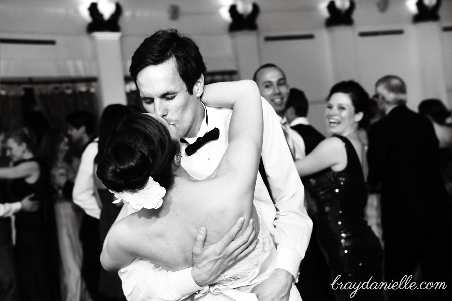 Bride and Groom kissing while dancing, wedding by Bray Danielle Photography