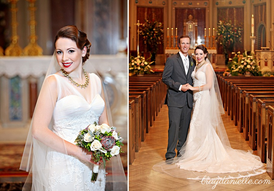 Bride and groom posed portrait in church
