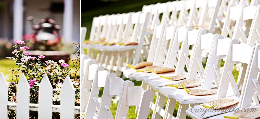 White chairs at outdoor wedding reception