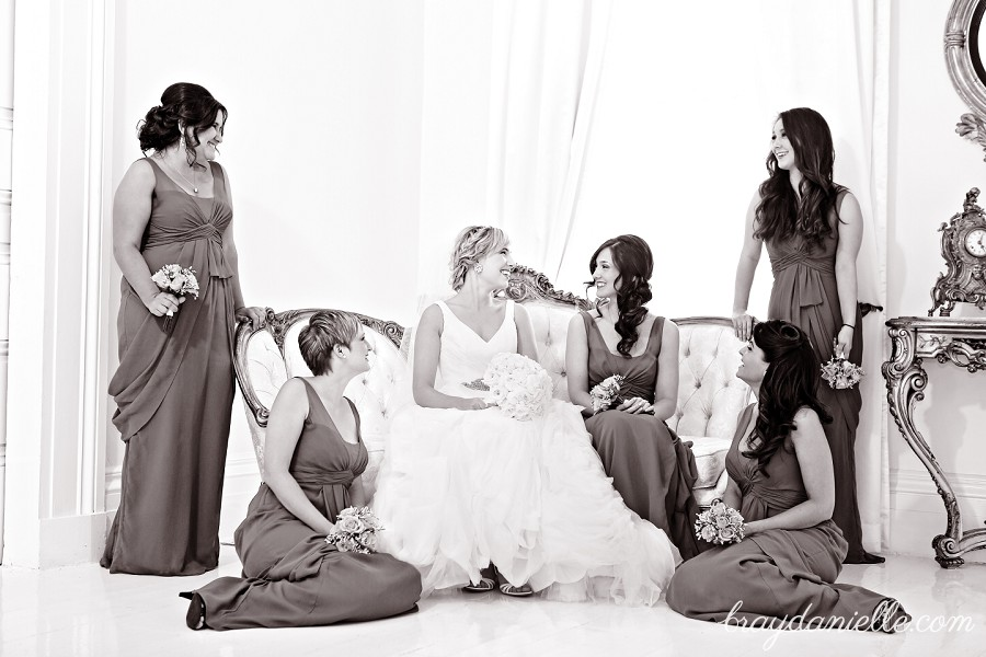 bridal party posed photo