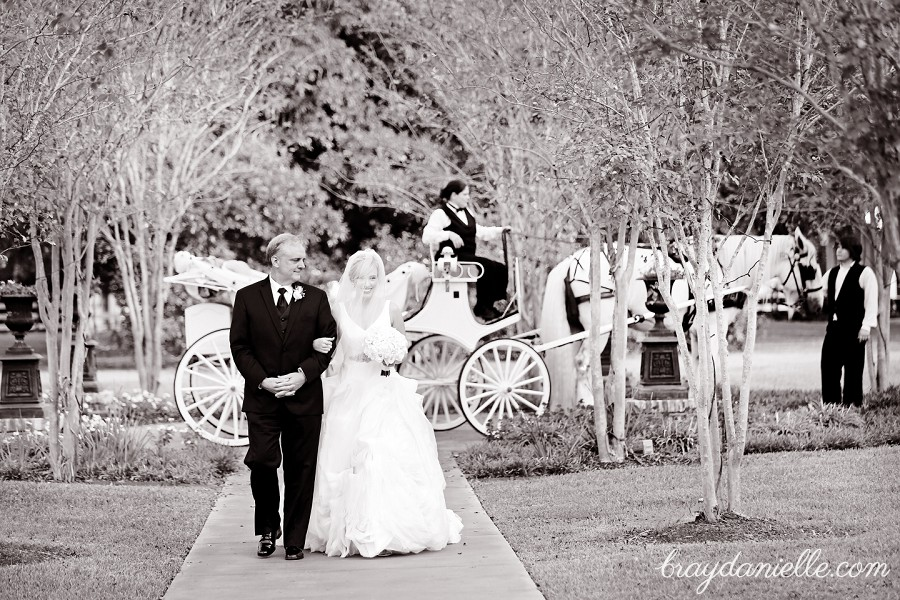 father of the bride and bride in front of horse and carriage