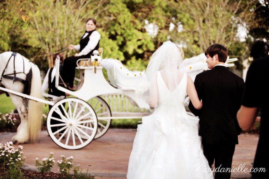 bride and groom walking to carriage