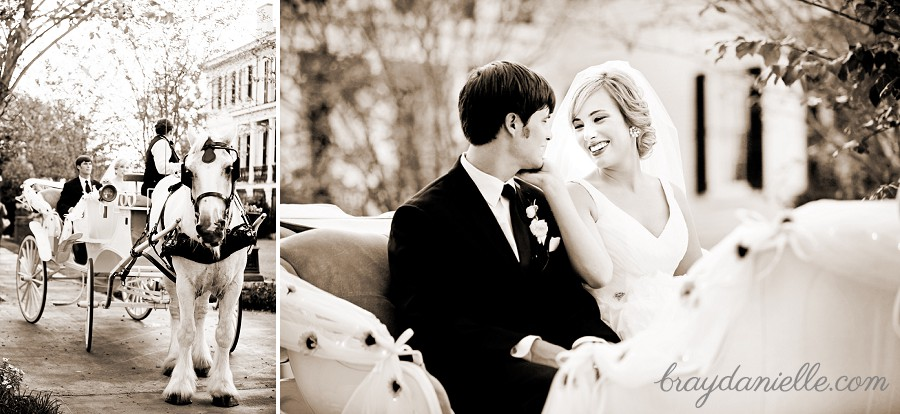bride and groom riding in a carriage