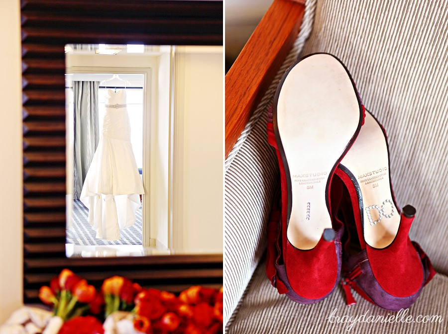 Red bridal shoes with