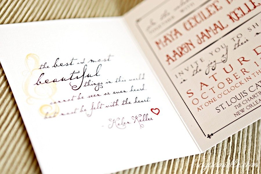 Wedding inviaton with quote