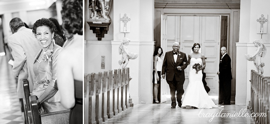 Bride walking down aisle, wedding at St Louis Cathedral in New Orleans