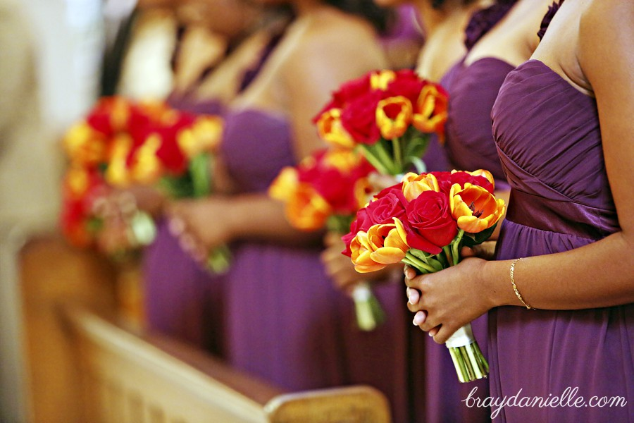 Orange and red bridal bouquets