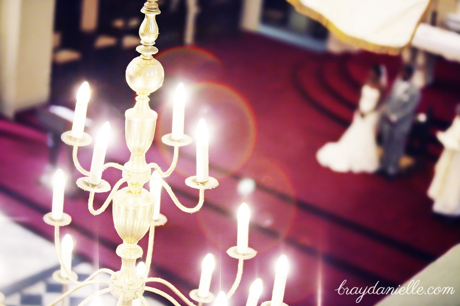 Chandelier in Catholic church, wedding at St Louis Cathedral in New Orleans