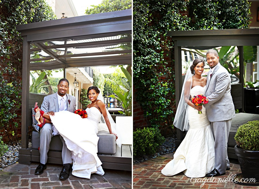 Outdoor posed photos of bride and groom