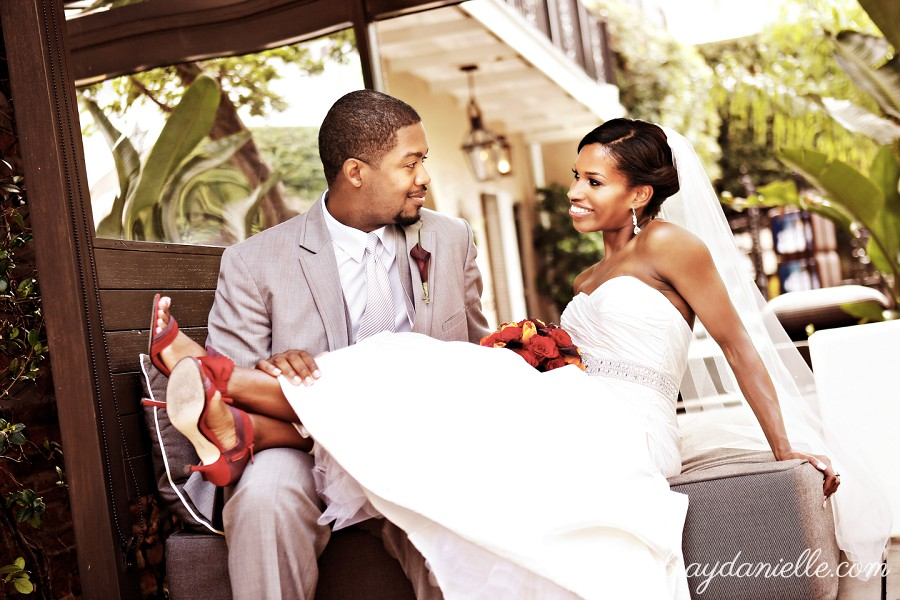 outdoor photo of bride and groom