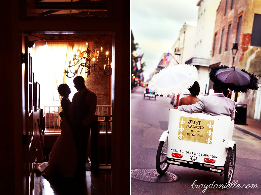 Bride & groom silhouette + Just married cart