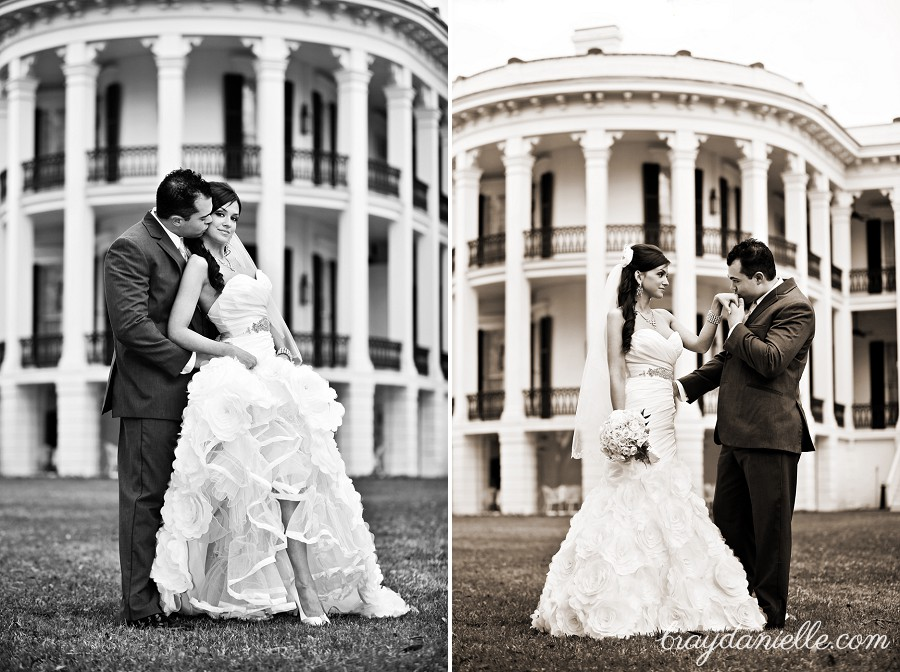 bride and groom in front of plantation home