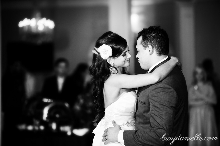 close up of bride and groom dancing
