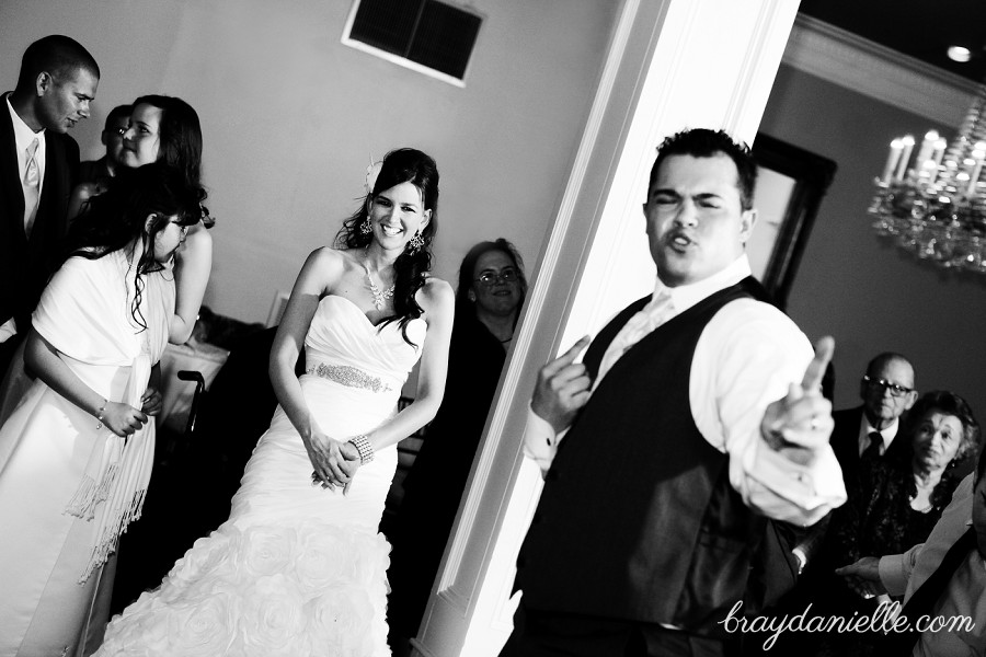 bride and groom candid