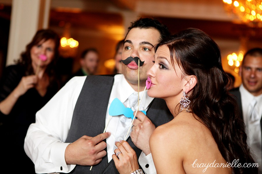 Wedding moustache + pink lips